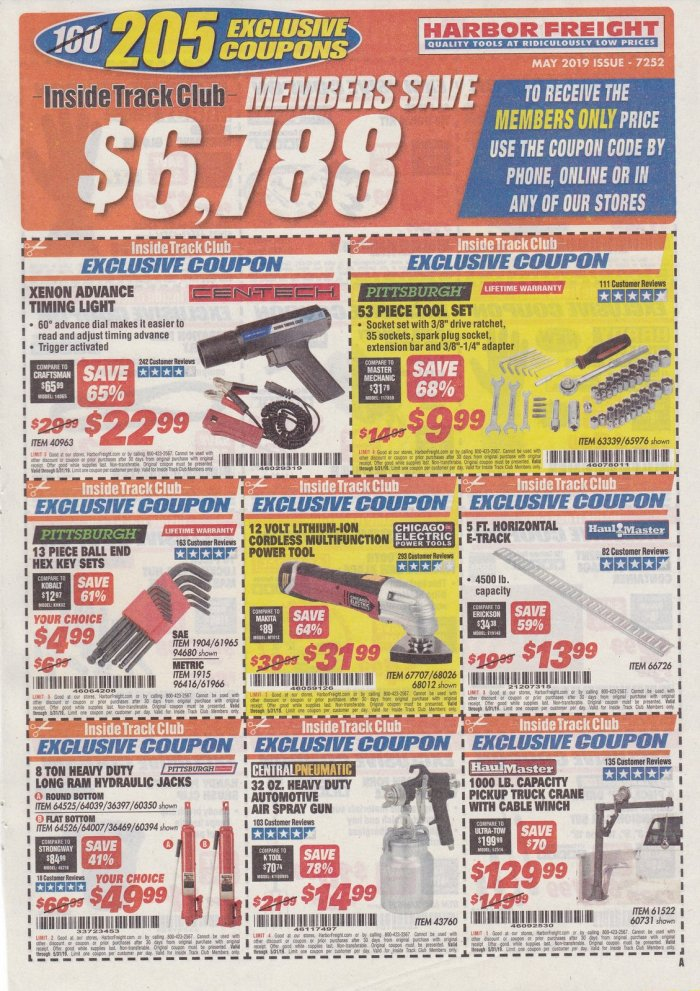 Harbor Freight Inside Track Club Coupons – May 2019 – Struggleville