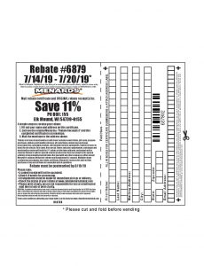 Menards 11 Percent Rebate Number 6879