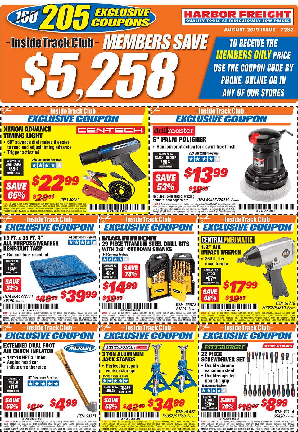 Harbor Freight Inside Track Club Coupons – August 2019