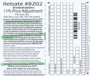 Menards 11 Percent Price Adjustment Rebate Number 8202