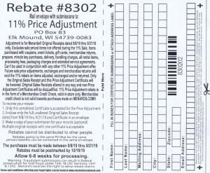 Menards 11 Percent Price Adjustment Rebate Number 8302