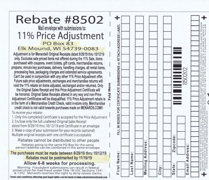 Menards 11 percent price adjustment rebate number 8502