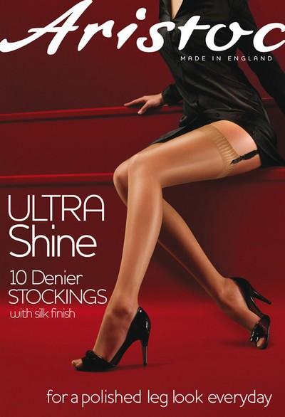 Glatte glänzende Strapsstrümpfe Ultra Shine von Aristoc, schwarz, Gr. S/M