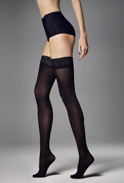 Blickdichte halterlose Strümpfe mit elegantem Spitzenabschluss Ar Fiona von Veneziana, schwarz, Gr. S/M