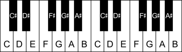 The black notes on the piano labelled as sharps