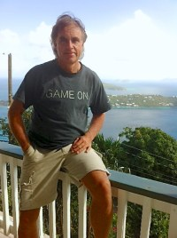 Freddie Rabuse at his home above Magens Bay.