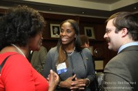 Rep. Stacey Plaskett (center) after being honored by American University Washington College of Law.