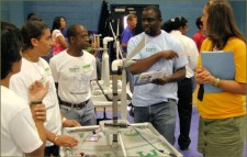 Judges at work at KidWind Competition for Virgin Islands high school students
