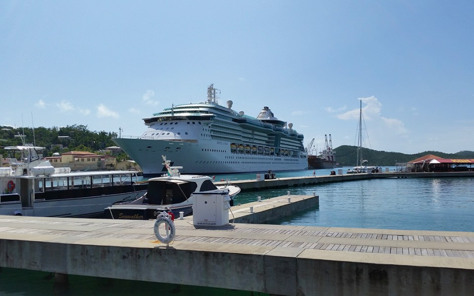 Jewel of the Seas docked at West Indian Co. Ltd dock Monday. (sap photo)