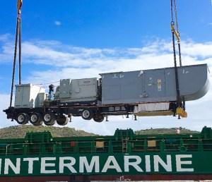 A new WAPA generating unit is unloaded on St. Thomas.