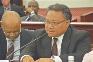 JFL Acting CEO Richard Evangelista testifies Wednesday. (Photo by Barry Leerdam, provided by the V.I. Legislature)