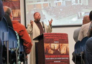 Canadian scholar Abdullah Hakim Quick addresses a crowd of about 200 people at the University of the Virgin Islands on the Golden Age of Islam and historic evidence of cross Atlantic migration in the 14th century.