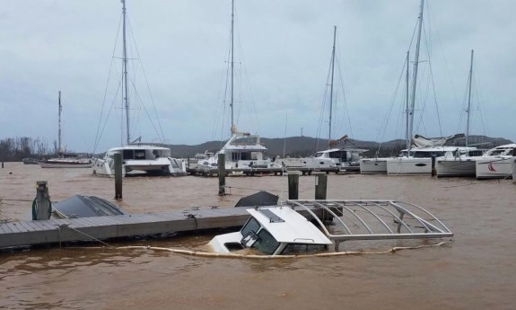 Vessel sunk in marina after Hurricane Maria (Adrien Austin photo)