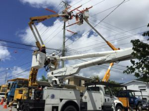 A WAPA crew works on a power line. (Photo provided by WAPA)