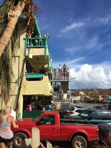 People flock to the Boulon Center in Cruz Bay to use the wireless hot spot, one of the few on St. John. (Amy Roberts photo)