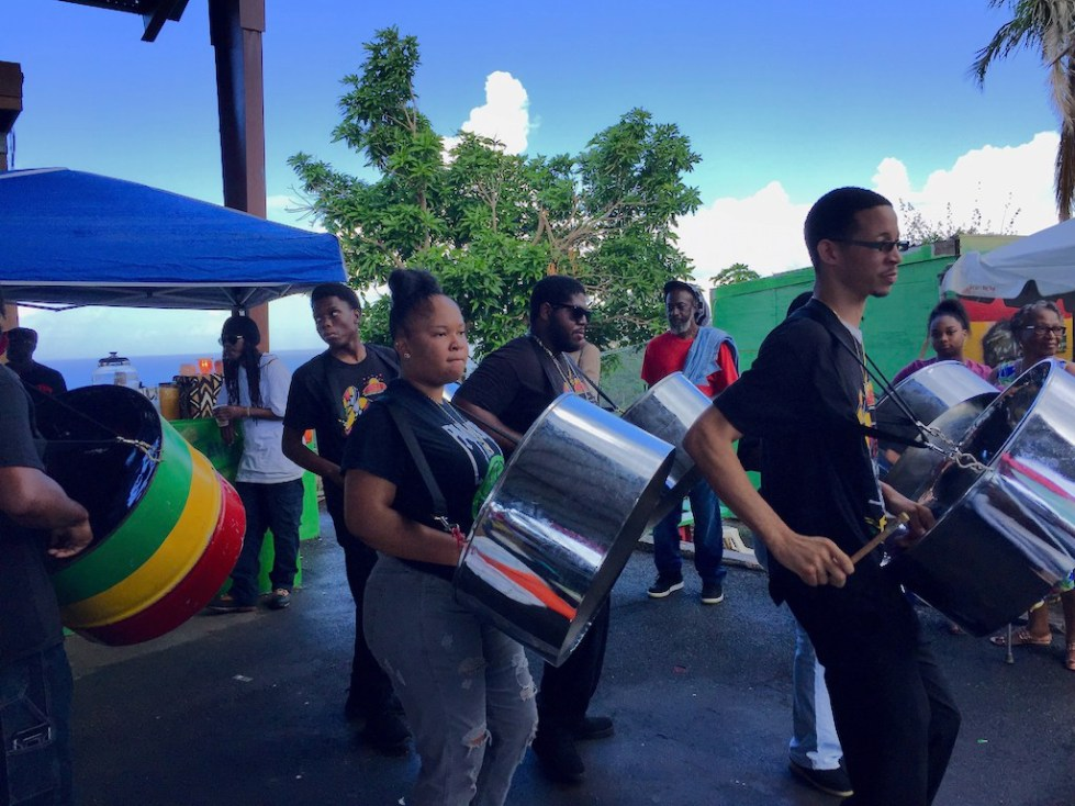 Members of the Rising Stars Youth Steel Orchestra perform at 'Agriculture in Recovery.'