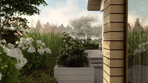 Projekt nowoczesnego ogrodu w Otominie - Projekt: Pracownia STTYK, Joanna Polewczak, Natalia Wańkowicz - Wizualizacja 8