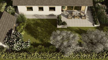 Projekt nowoczesnego ogrodu w Otominie - Projekt: Pracownia STTYK, Joanna Polewczak, Natalia Wańkowicz - Wizualizacja 22