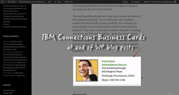 Wordpress Conenctions Biz Card