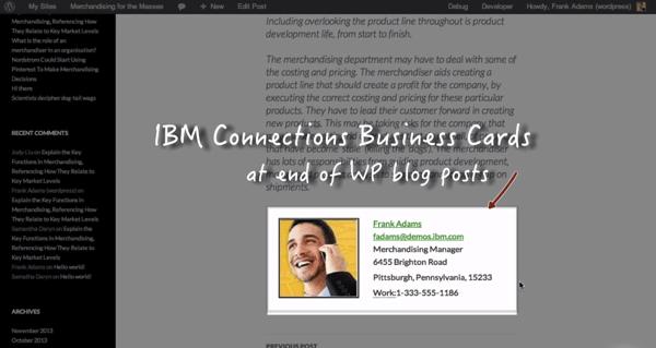 Wordpress Conenctions Biz Card