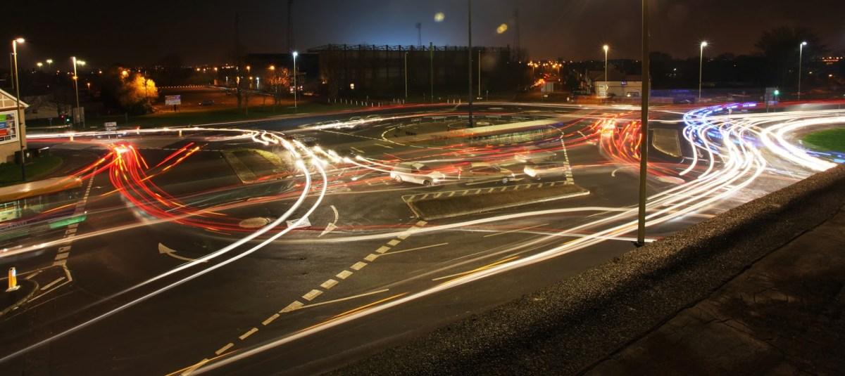 Swindon magic roundabout at night