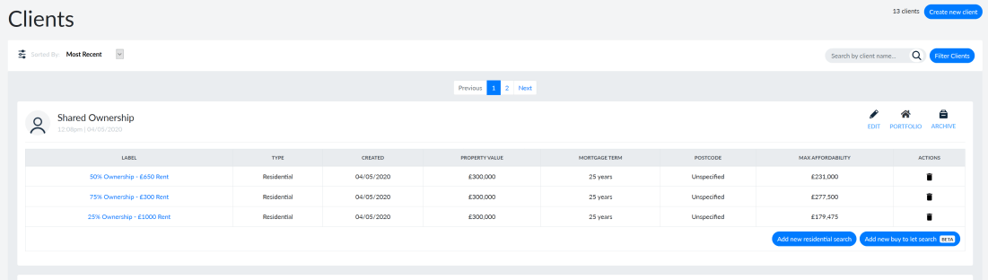 BrokerSense Screenshot - Shared Ownership Affordability