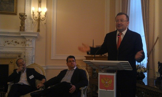 Russian Embassy: Ambassador Alexander Yakovenko, Paul Staines and Mark Flanagan
