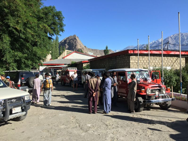 The climbers and porters all preparing to drive from Skardu to Askole.