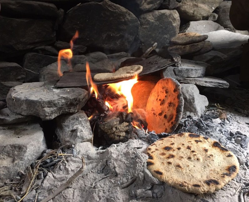 Cooking chapatti.