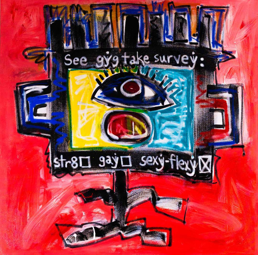 "gYg: takes survey, Acrylic and oil on canvas, 48"" x 48"", 2014"