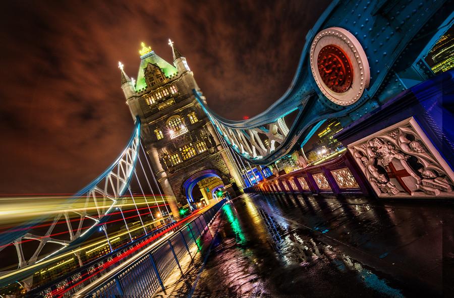 Crossing Tower Bridge at Midnight