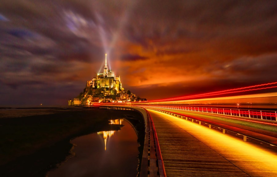 A 64-second exposure in Mont Saint Michel, France.  I love how you can make the exposure however long you want with this beast!