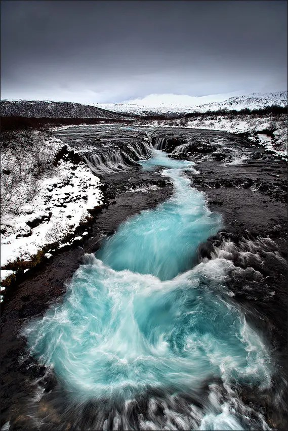 Brúarfoss in winter.
