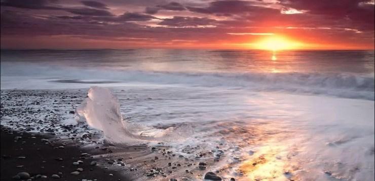 Sunrise at Diamond Beach in Iceland or Breidamerkursandur. Photo by Martin Schulz.