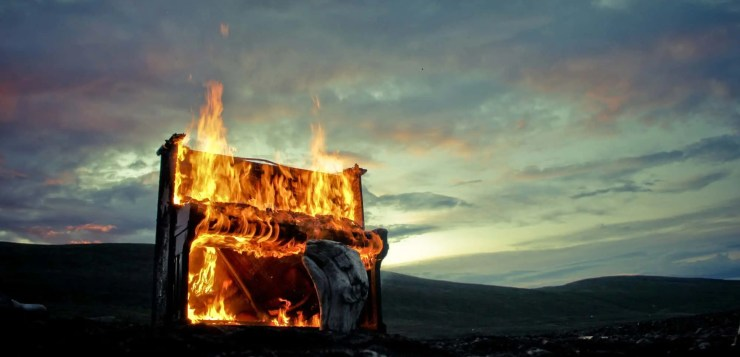 Scene from the Solstafir Music video for Lágnætti: 'Flaming piano in the twilight´