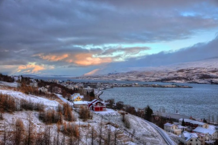 Sunrise over Akureyri.