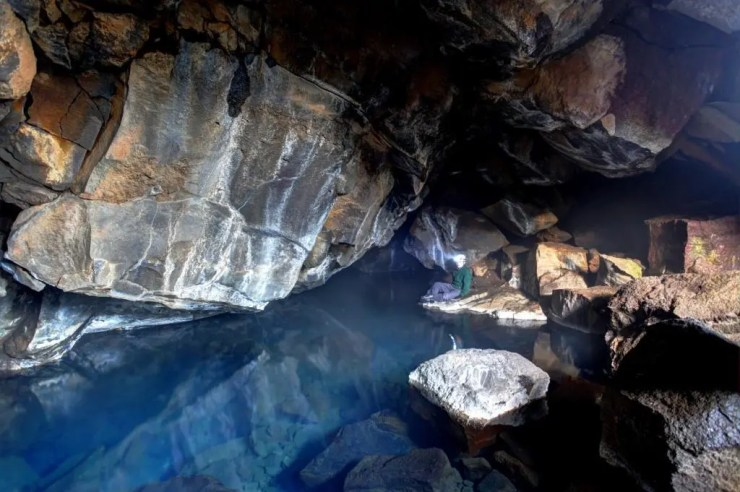 The hot spring caves near Lake Myvatn.