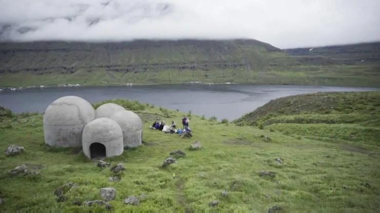 The Tvísöngur sound sculpture at Siglufjörður in the North of Iceland.