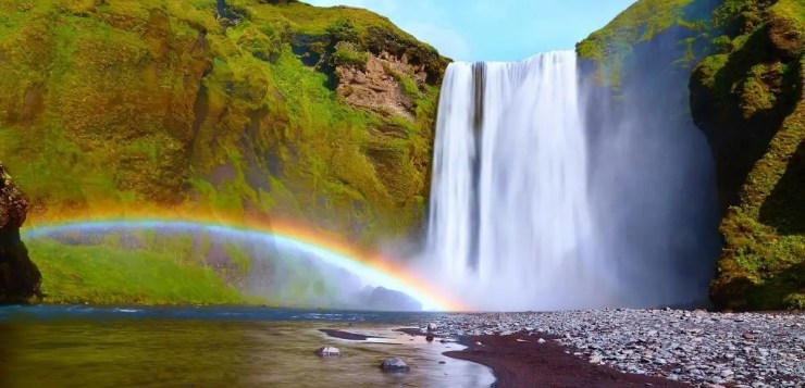 Skógafoss waterfall. If you go on a road trip, you can see many unusual attractions in Iceland.