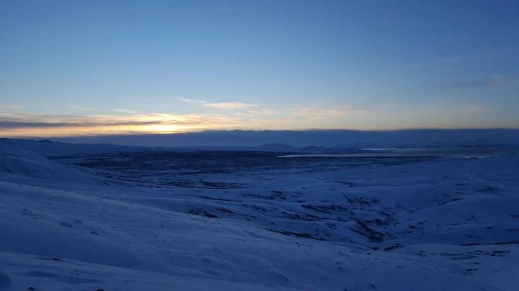 Sun Rises Over Lake Thingvallavatn and Thingvellir.