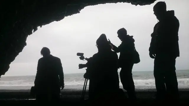 Filming in Iceland can be hard when the wind blows and the rain falls.
