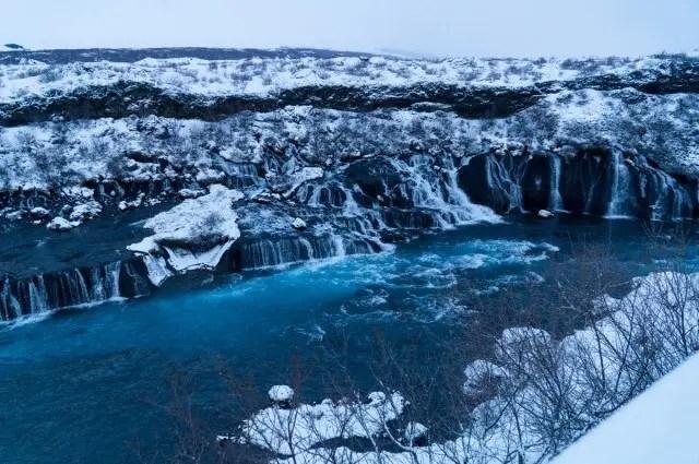 Hraunfossar waterfalls in winter.