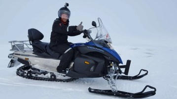 Epic snowmobiling on Langjökull Glacier in Iceland.