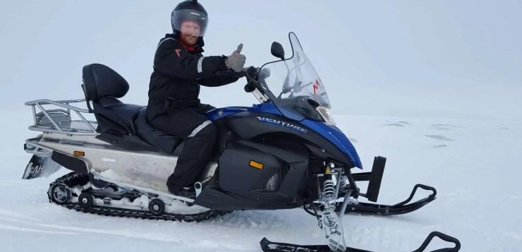 Epic snowmobiling on Langjökull Glacier in Iceland.