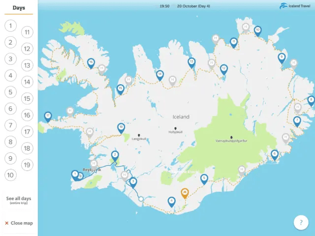 The Iceland Travel Companion shows you your road trip in Iceland.