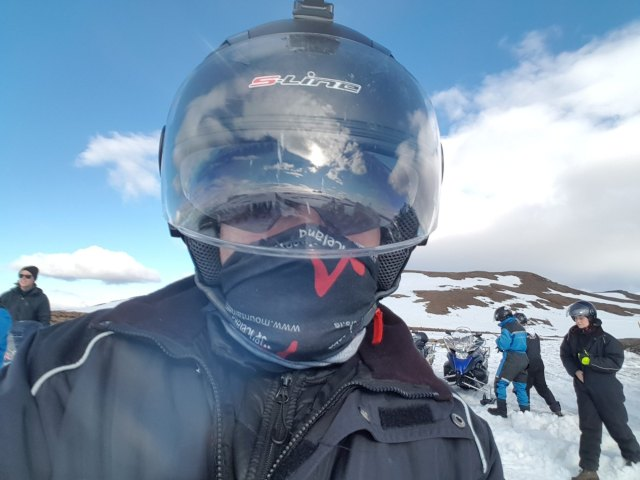 Captain Slow is ready to take on Langjökull Glacier on his snowmobile.