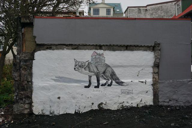 Graffiti in Reykjavik showing two foxes.