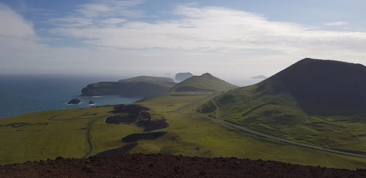 View from Eldfell in the Westman Islands in Iceland.