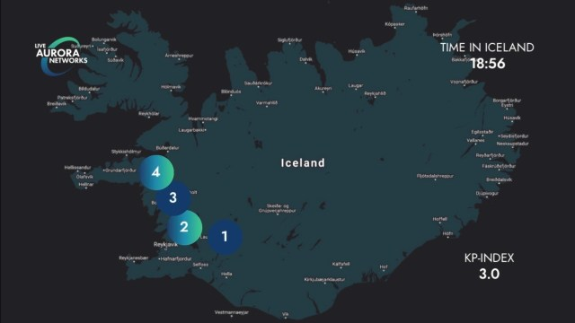 Locations of cameras on the look out for northern lights.