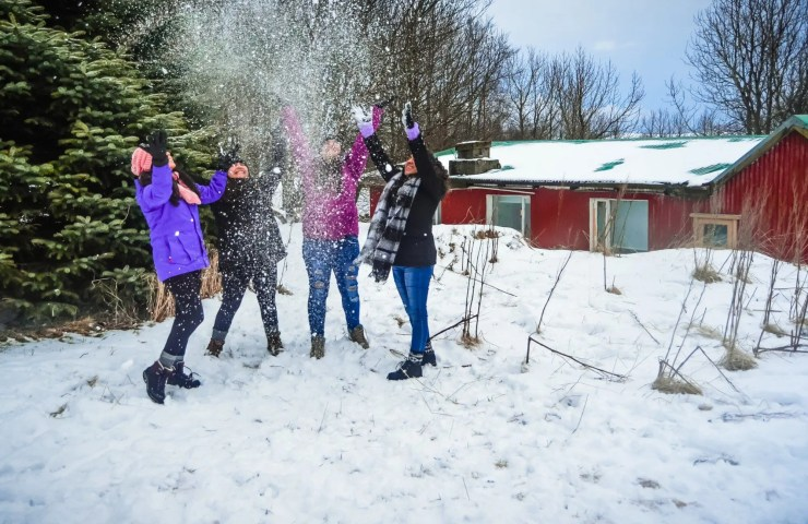 Snowball fight in Iceland